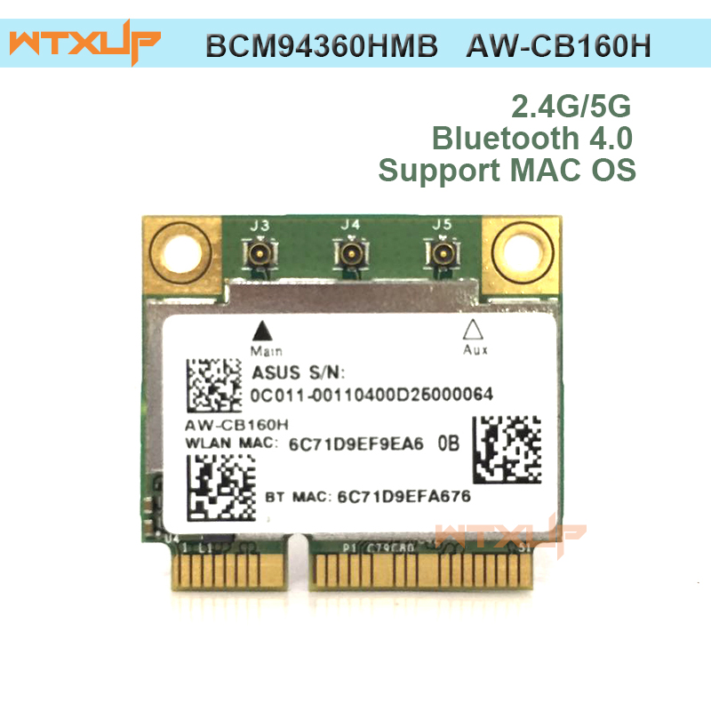 WTXUP Dual band Broadcom BCM94360HMB AzureWave AW CB160H 802 11AC 1300Mbps Wireless WIFI WLAN Bluetooth 4