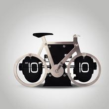 1 set Modern Digital Auto Flip Desk Clock of Bike Shape Metal Retro File Down Page Clocks HY-F088