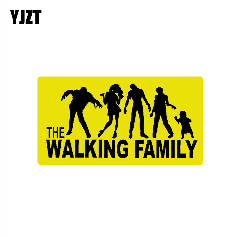 YJZT 13.6CM*7.2CM THE WALKING FAMILY ON BOARD Car Sticker PVC Decal 12-40172