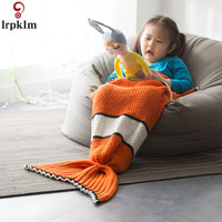 New Warm knitted mermaid tail blanket Winter Funny Kids sofa sleeping bag Autumn soft handmade crochet wrap bedding JW219