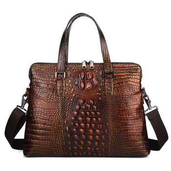 New Luxury Cow Genuine Natural Leather Business Men's Briefcase Male Briefcase Shoulder Bag Alligator Brand Tote Computer Bag