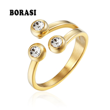 BORASI Crystal Classic 3 Rounds Ring Cubic Zirconia For Woman Elegant Stainless Steel Rings Jewelry Birthday Party Wedding Gift