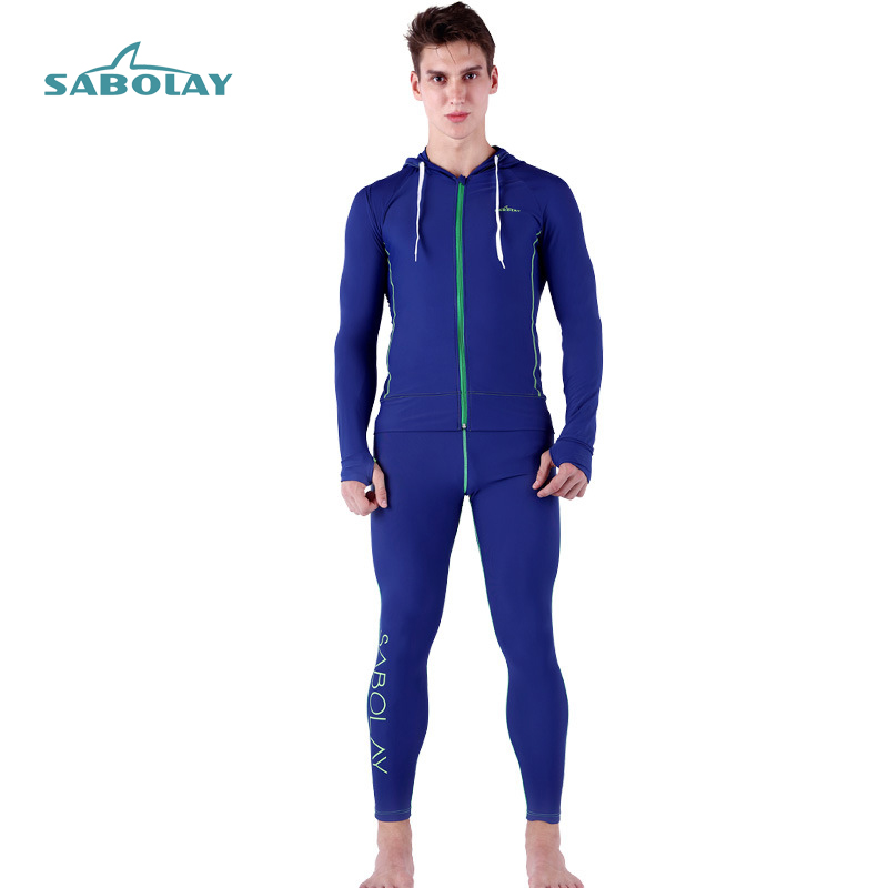 Rash Guard Men Bjj Long Sleeve Lycra Swimming Hooded Shirt Zipper Swimsuit Sunscreen Surf Shirt Long Pants Solid Surf Swimwear