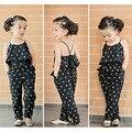 Menina da criança Vestidos de Moda Bebê Meninas Falso Duas Peças Estilo Sling Dots Meninas Vestido de Verão Crianças Leotard Para Meninas 2-7Y