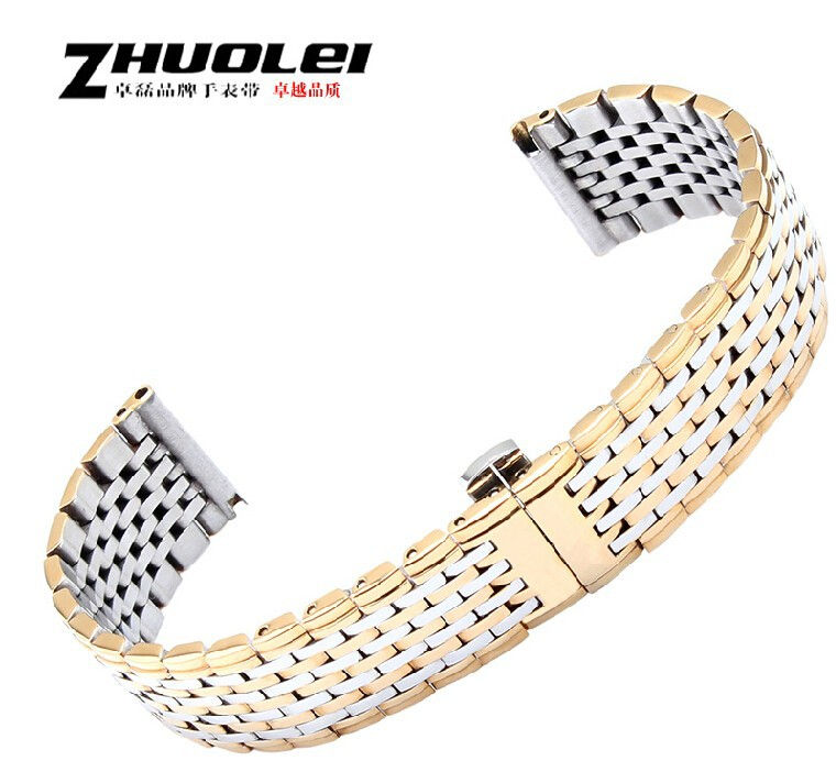 13mm 18mm 20mm 22mm Gold Silver 1pcs New High quality Stainless Steel Watch Band Bracelets Free Shipping