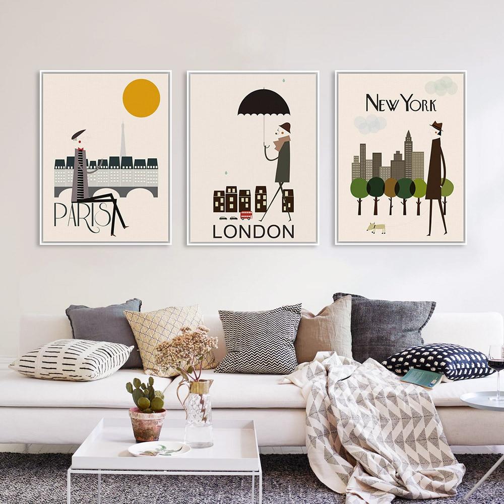 Triptych modern london new york paris city travel a4 art for Home accessories london