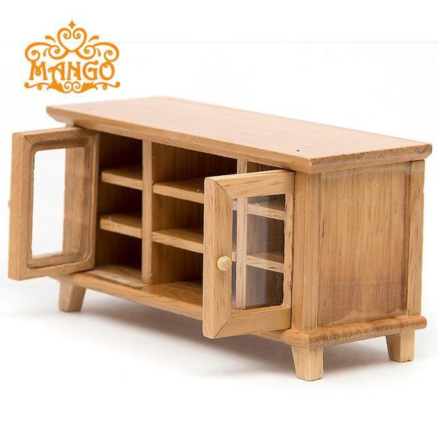US $13.5  Mini Dollhouse Mini soggiorno modello giocattolo di legno color  legno vetrina mobile in Mini Dollhouse Mini soggiorno modello giocattolo di  ...