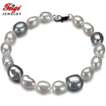 Feige Special offer Baroque style White/Gray Freshwater Pearl Strand Bracelets & Bangles for women Fine Jewelry Pulseras