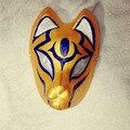 De la cara llena pintado a mano máscara del zorro japonés Kitsune patrón oro Cosplay Masquerade para el partido del carnaval de Halloween
