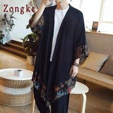 Zongke китайское длинное кимоно кардиган пальто японское кимоно мужская куртка уличная Мужская s кимоно куртка Мужская хип-хоп ветровка