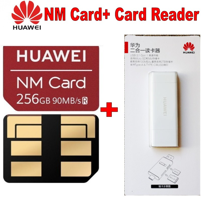 90MB/s Speed 100% Original For Huawei Mate 20/20 Pro/20X NM Card 256GB Nano Memory Card  +Huawei 2 In 1 Card Reader