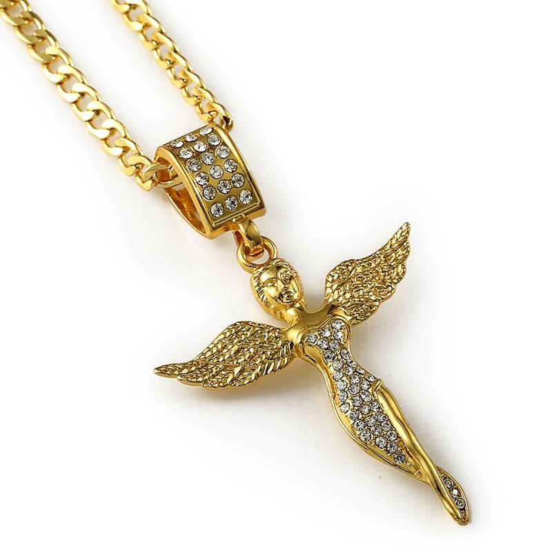 Hip Hop Golden Micro Angel wings girl necklaces Men Women Charm