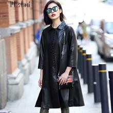Ptslan 2016 Women s Genuine Lambskin Leather Long Coats Long Sleeve Jacket