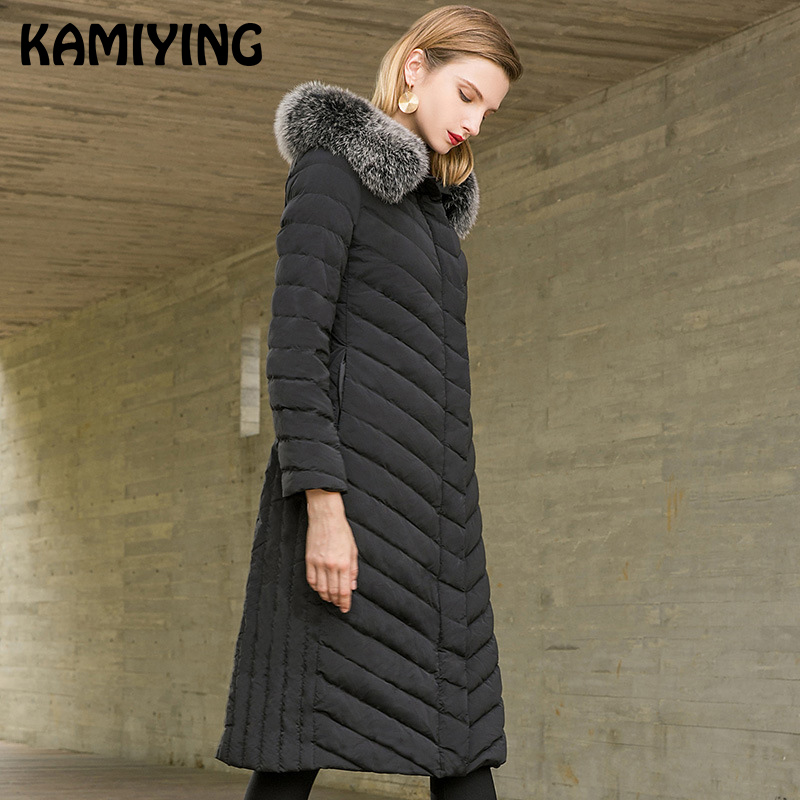 Kamiying Down Coat Women's Mid Length 2018 Winter New Style Fashionable Hooded Pure Color Loose Large Size Down Coat Pkhd728