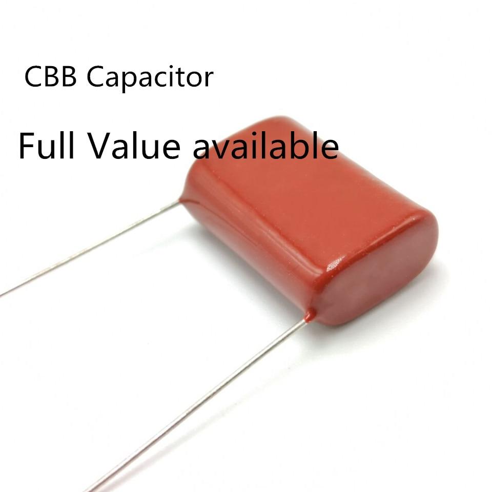 50pcs CBB 630V 105J 105 1UF 630V Metallized Film Capacitor P=20MM