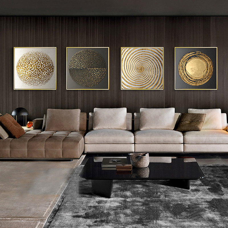 Abstract Gold Black White Modern Square Texture Canvas Painting Posters And Prints Home Decor Wall Art Pictures For Living Room