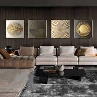 Abstrakte Gold Schwarz Weiß Moderne Quadratischen Textur Leinwand Malerei Poster Und Drucke Wohnkultur Wand Kunst Bilder Für Wohnzimmer
