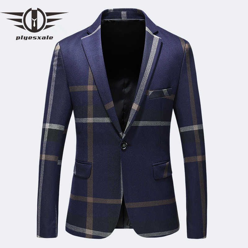 High Quality Blazers For Men Brand Clothing Dark Blue Grey Blazer Masculino Slim Fit Casual Suit Jacket 4XL 5XL Plus Size Q197
