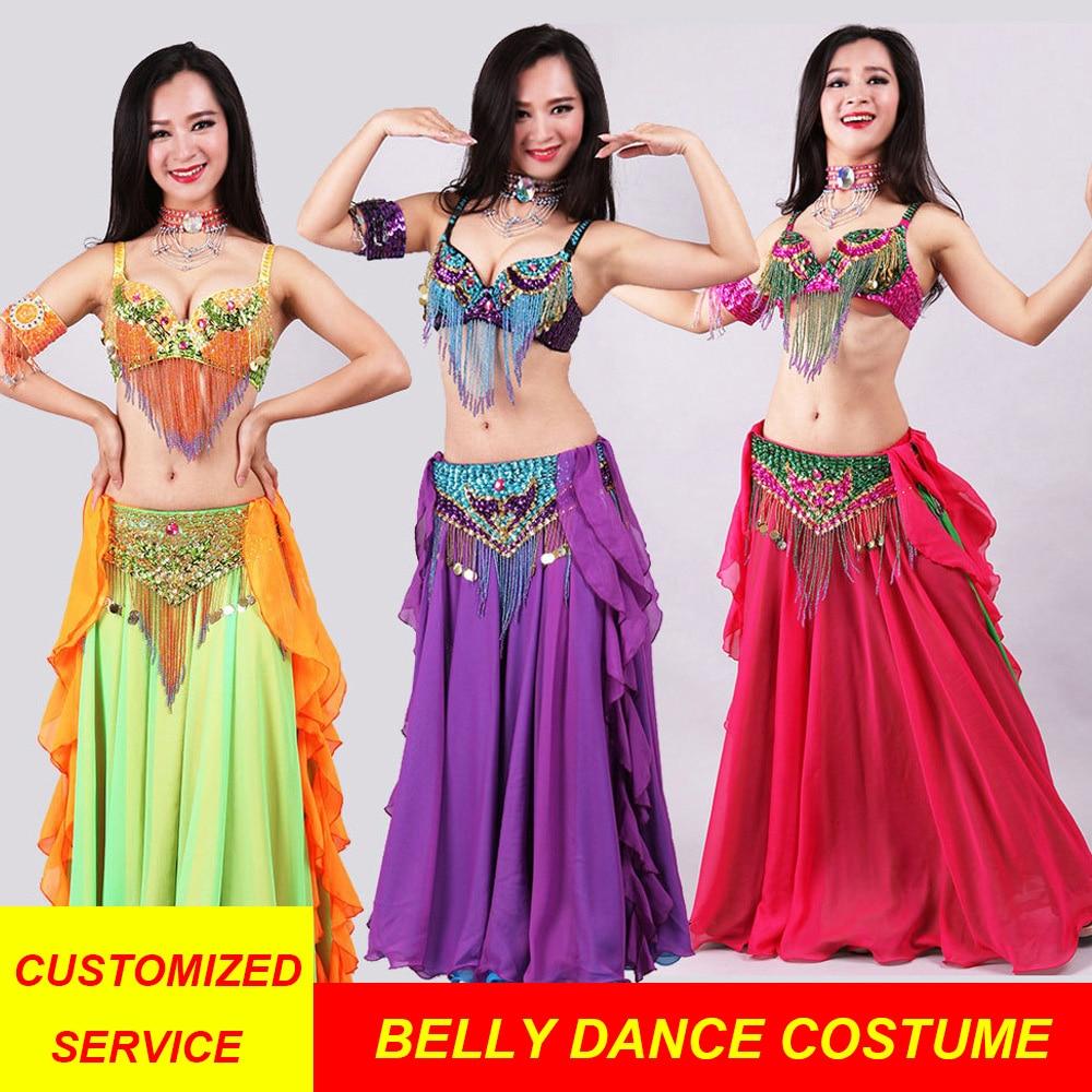 Women Dancewear Belly Dance Costume Set Indian Dance Costumes Bollywood Dress 5 Ps(Top Bra, Belt, Skirt, Hand Belt, Necklace)