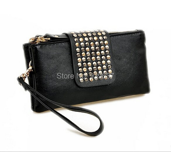 New Arrival /PU Leather /Rivet Sexy Fashion /Designer Bag/ women wallet/ wallets handbags clutches Free Shipping