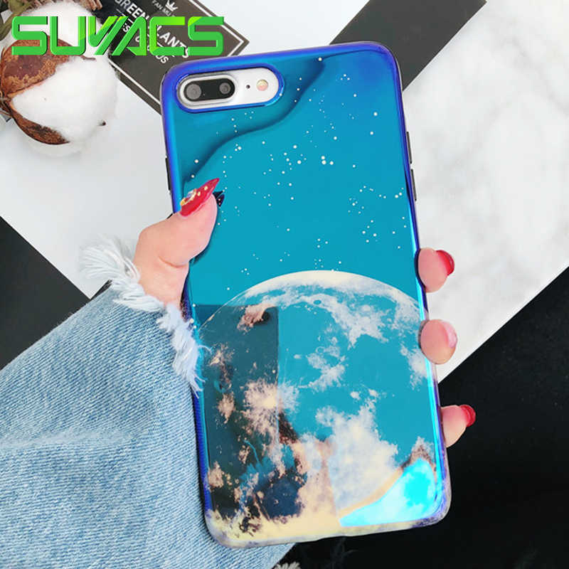 SUYACS Glossy Blu-ray Telefoon Case Voor iPhone XR XS Max 6 6S 7 8 Plus X Mooie Maan Zachte IMD Grafische Telefoon Case Cover Fundas