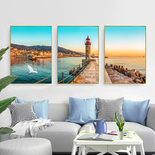 Nordic Minimalism Poster Modern Minimalist Ocean Landscape Decoration Painting Living Room Triptych Lighthouse Unframed