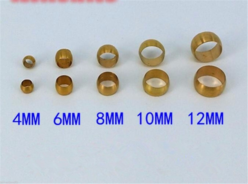 Купить с кэшбэком 10pcs Brass Retaining Ring Brass Meson Swagelok Pneumatic Compression Sleeve Clamp Fitting for Pipes 4/6/8/10/12/14/16mm
