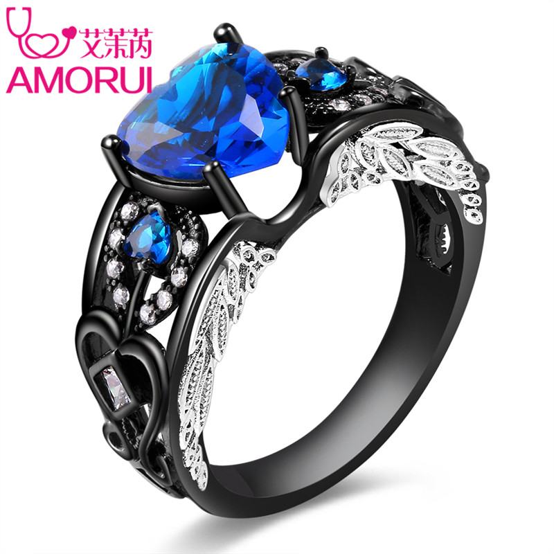 AMORUI Angel Wings Black Wedding Rings for Ladies/Women Fashion AAA Zircon Birthstone Engagement Ring Party Gift Dropshipping