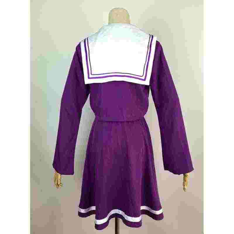 Disfraz de Cosplay de marinero de Shiro blanco sin juego sin vida, disfraz de uniforme de estudiante, peluca para mujer, envío gratis