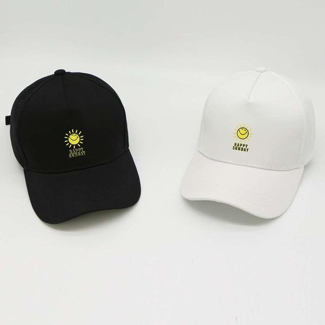 Nueva moda gorra de béisbol feliz domingo Snapback hombres sombrero verano  otoño algodón gorras mujeres hombres 1eff3cf752f
