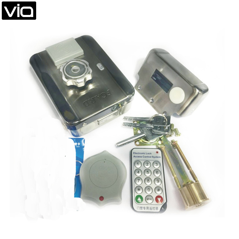 MC-203E  Free Shipping  Double Reading Card Door Lock S10 DC12v Metal Electronic Integrated RFID digital electric best rfid hotel electronic door lock for flat apartment