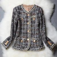 2019 New Autumn Winter Office Ladies Luxury Designer Blazer Coat Slim Women's Plaid Tweed Wool Blazer Outwear Coats