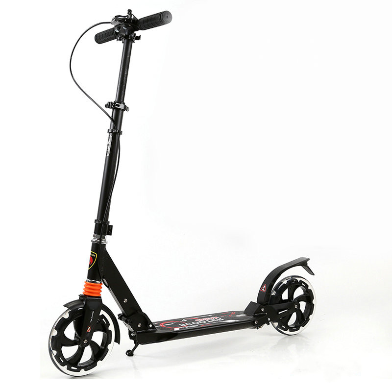 Aluminum Alloy Frame Adult Scooter With 20cm Pu Transparent Wheel, Dual Shock Absorption Teens Scooter To Produce An Effect Toward Clear Vision