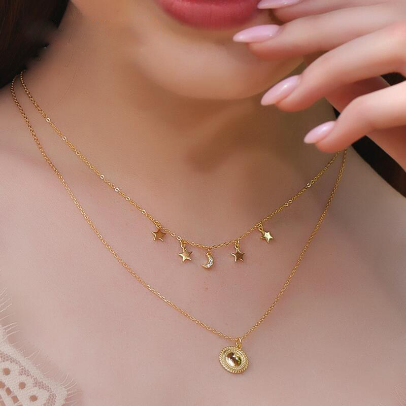 925 Sterling Silver Fashion Choker Necklace minimal CZ Moon Delicate Chain Gold Women Elegant Simple charm Star Necklace Jewelry