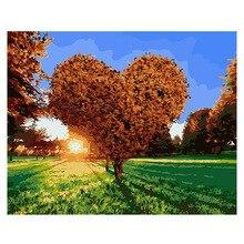 RIHE Sunrise Heart Tree Diy Painting By Number Romantic Oil On Canvas Hand Painted Cuadros Decoracion Acrylic Paint Art