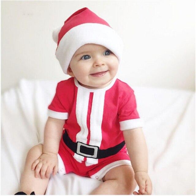 Navidad bebé niño niña mameluco de algodón + sombreros 2 unids recién  nacido de manga corta 43f7cd64ab85