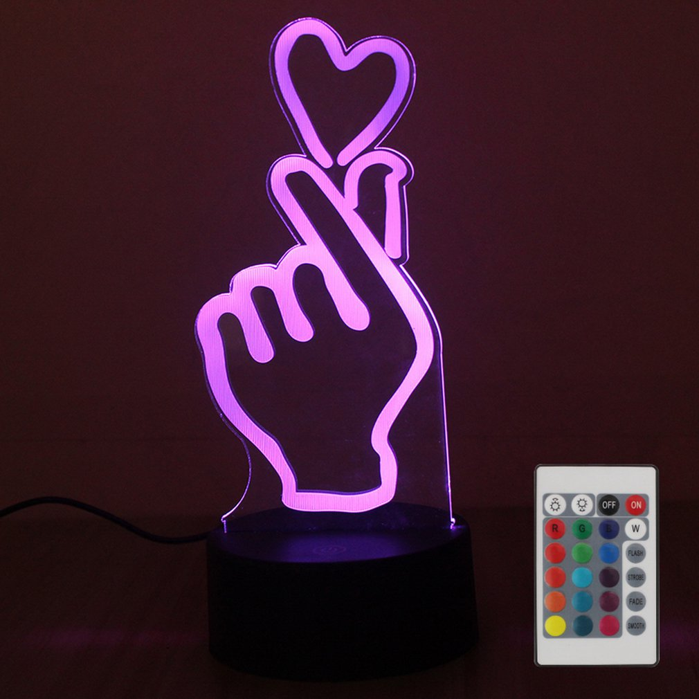 Love Heart Touch Table Lamp 7 Colors Changing Desk Lamp 3D Lamp LED Night Light Stereoscopic Illumination