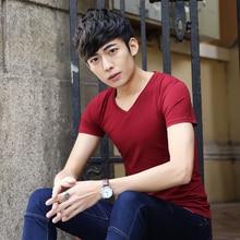 SHIFOPUTI Summer Latest Design Men's V-neck Solid Color T-shirt High Quality Brand Clothing Fashion Casual Short Sleeve Slim