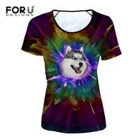 FORUDESIGNS Funny 3D Printed Husky Pug Dog Tshirt For Women Cute Summer T Shirt Short Sleeve