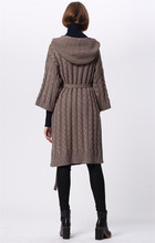 cashmere wool blends thick knit women boutique hooded sashes long cardigan sweater coat