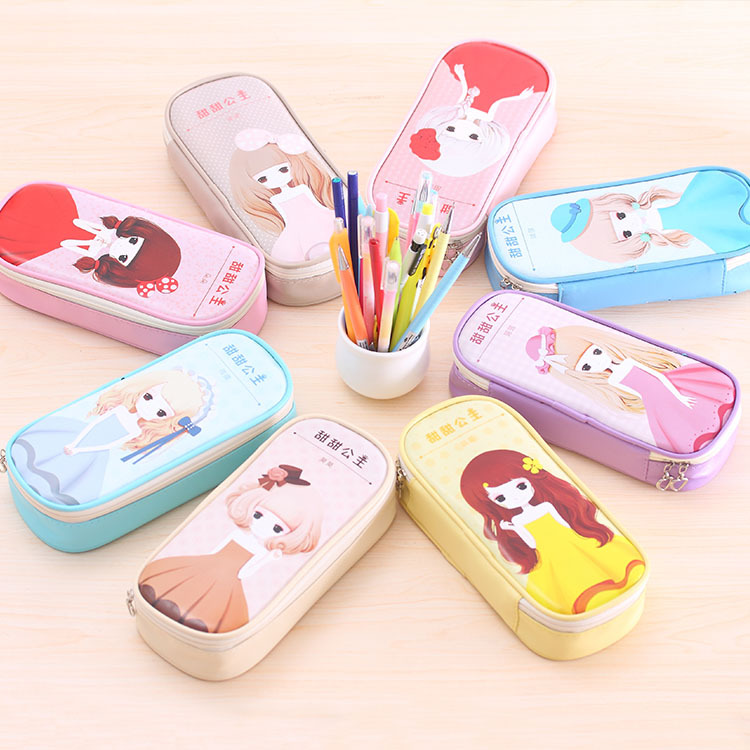 Cute school pencil case for girls Big hero Flower girl pencil bag Large Capacity Leather Stationery pouch office school supply 2017 korean large capacity cute pencil case golden simple stationery pens holder bag for girl boy school office supplies gift
