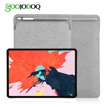 GOOJODOQ 9.7/10.5 שרוול מקרה עבור iPad 2018 פרו 10.5 11 2018 מקרה עם אפל עיפרון Stylus מחזיק עור מפוצל כיסוי תיק עבור iPad