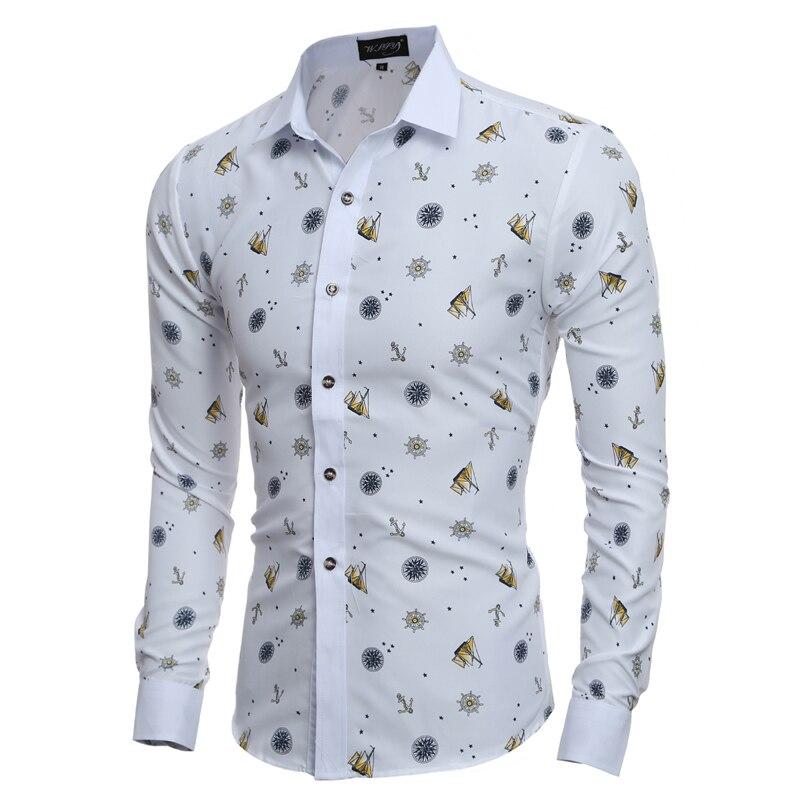 523f8c02e6ec8e Mężczyźni Koszula Luksusowa Marka 2016 Męskie Z Długim Rękawem Koszule  Casual Męskie Wzór Drukowania Slim Fit Koszule Męskie Hawaiian 2XL