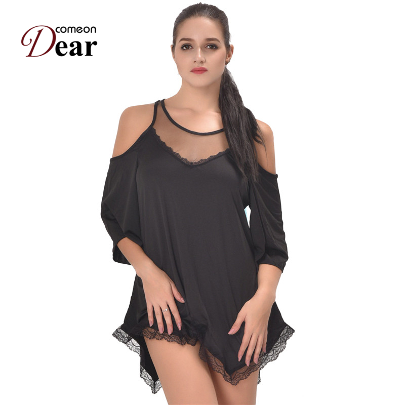 Comeondear <font><b>Camisola</b></font> <font><b>Sexy</b></font> <font><b>Lingerie</b></font> <font><b>Plus</b></font> <font><b>Size</b></font> Night Women's Babydoll Dress Camisones De Dormir Sexi RB80190 See Through Nightgown image