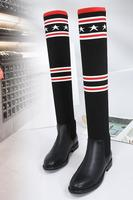 2017 autumn and winter paragraph low with long knee long elastic boots flat was thin tube knitted socks boots