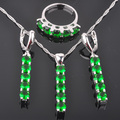 Hot Sell Green Created Emerald Women's 925 Silver Jewelry Sets Earrings/Pendant/Necklace/Rings Free Shipping QZ013