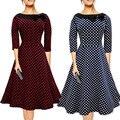 Matteobenni women dress 2017 robe pinup swing grande 3/4 de la manga 50 s vintage dress traje de lunares señora otoño invierno femenina partido