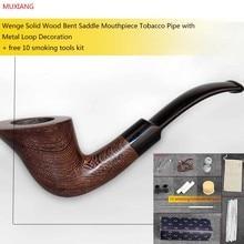 MUXIANG 10 Rauchen Tools Kit Handgemachte Hölzerne Pfeife mit 3mm Filter Bent Sattel Stem Tabakspfeife Geschenk für Männer aj0009