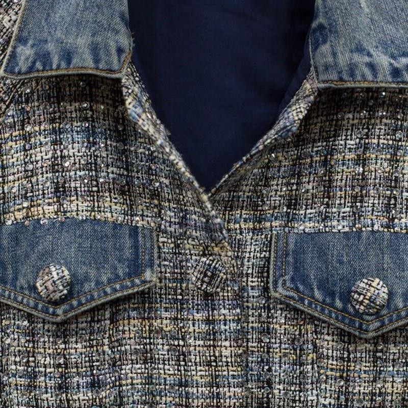 Top Kwaliteit Womens Diamonds Plaid Tweed Patchwork Denim Jassen Lange Mouwen Single Breasted Streetwear Vrouwelijke Bovenkleding Jassen - 3