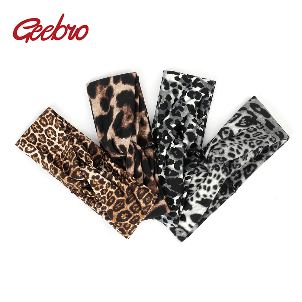 Geebro Vintage Fashion Leopard Cross Knot Headband for Women Elastic Stretch Velvet Hairbands Twist   Headwear   Hair Accessories